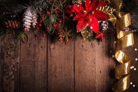 christmas flower: Christmas border design with red and gold baubles Stock Photo