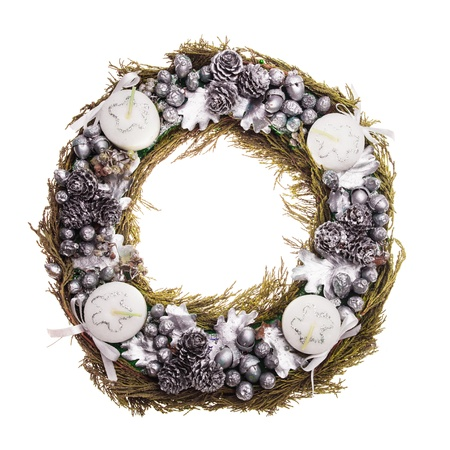Christmas Advent wreath isolated on white Stock Photo