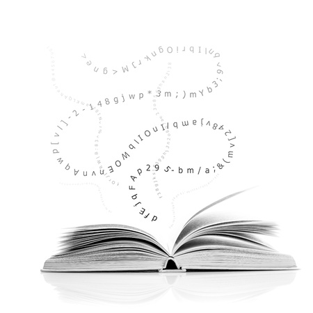Ein offenes Buch mit Buchstaben und Zahlen, Bildungs-Konzept
