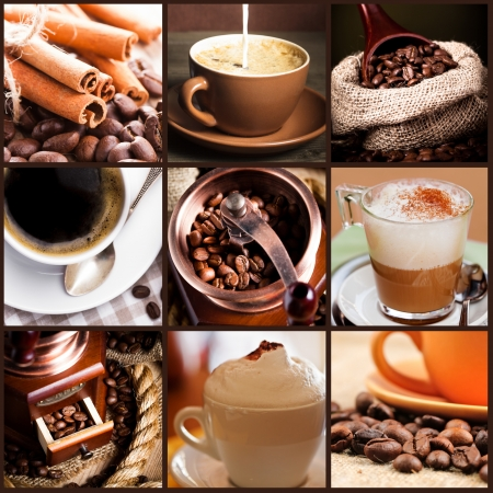 Coffee, cappuccino, latte, and roasted beans. Coffee concept. Stock Photo