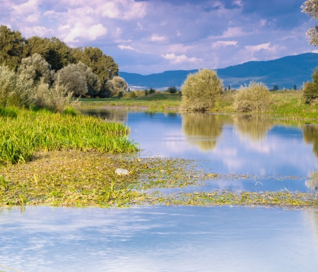 River landscape with  reflection in water photo