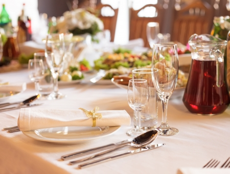 wedding table setting: Serving table prepared for event party or  wedding