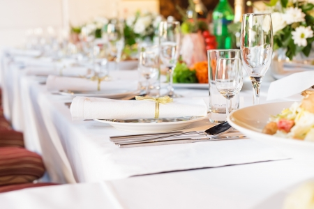 catering service: Serving table prepared for event party or  wedding