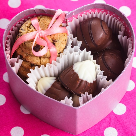 Sweet valentines box with candies nad cookies photo