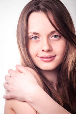 woman only: Young attractive woman. Only face, close up Stock Photo