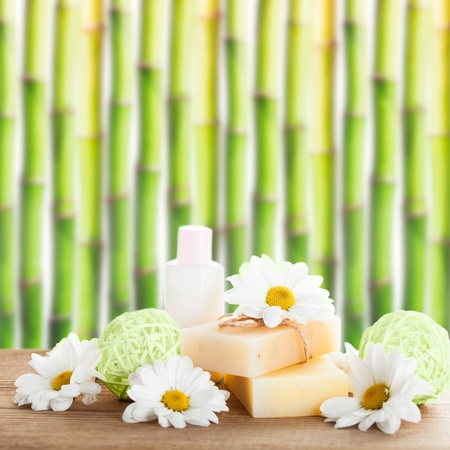 Natural cosmetics concept: soap and cream photo