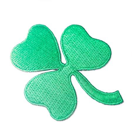 Embroidered shamrock - symbol of Irish, isolated on white Stock Photo - 18049363