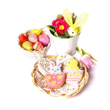 Easter cookies and decorative eggs. Easter decor photo