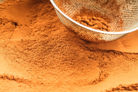 chocolate powder and sieve, prepared for cooking Stock Photo - 18647151
