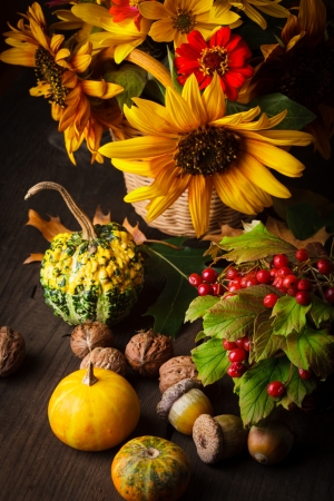 autumn harvest: Still life with autumn harvest on wood background Stock Photo