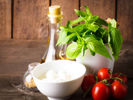 Ingredients for caprese salad over wooden wall, italian food photo
