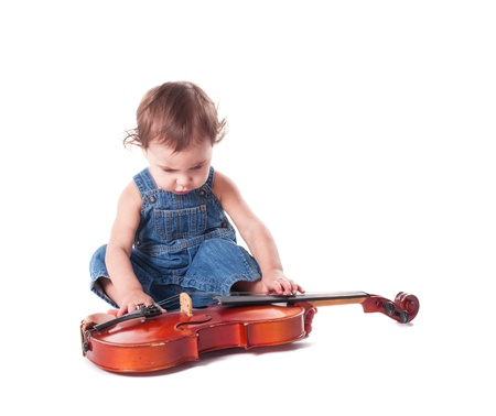 baby and violin isolated on white. Choosing future profession Stock Photo - 19029765