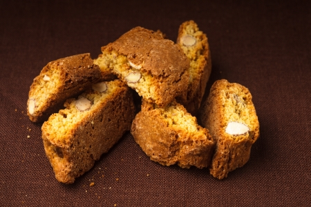 italian ethnicity: Cantuccini - typical almond cookies on the napkin