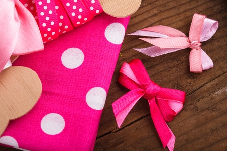 Pink polka dot ribbon, textil and bows for scrapbooking photo