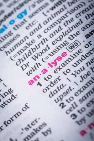 vocabulary: Word analyse closeup in the vocabulary page