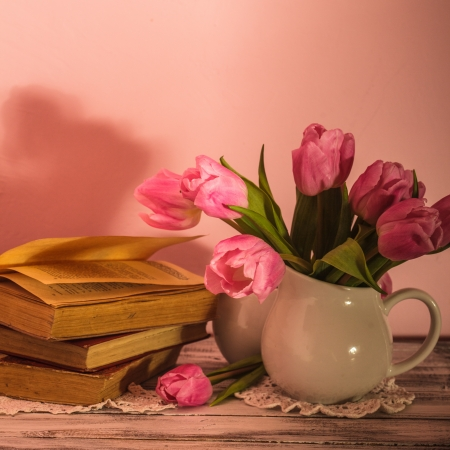 Poem still life with books and pink tulips Stock Photo - 19222005