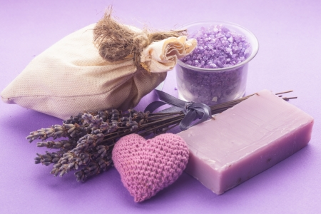 Dried lavender for aromatherpy and spa: soap, sachet, sea salt