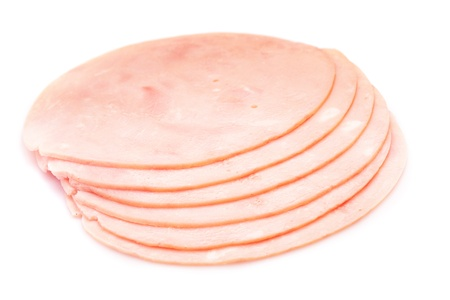 jambon: Round ham slices isolated on white background Stock Photo