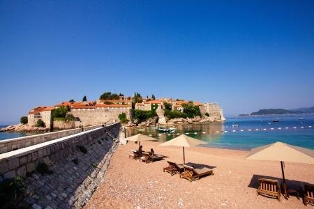 sveti: Luxury beach at the St. Stefan, Montenegro. Adriatic Seashore
