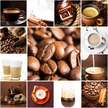 Aromatic coffee, cappuccino, latte, and roasted beans for menu design photo