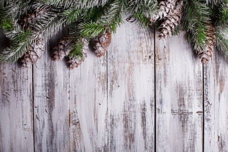 snow cone: White shabby Christmas border with snow covered pinecones