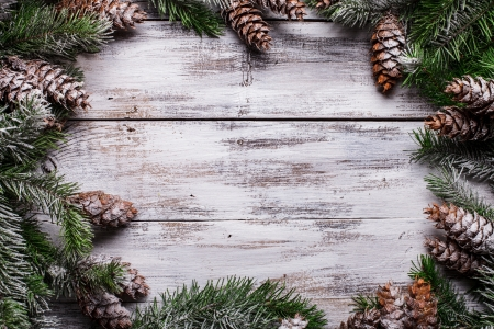 White shabby Christmas border with snow covered pinecones photo