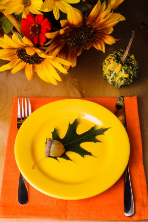 natural setting: Thanksgiving party: serving table for a dinner