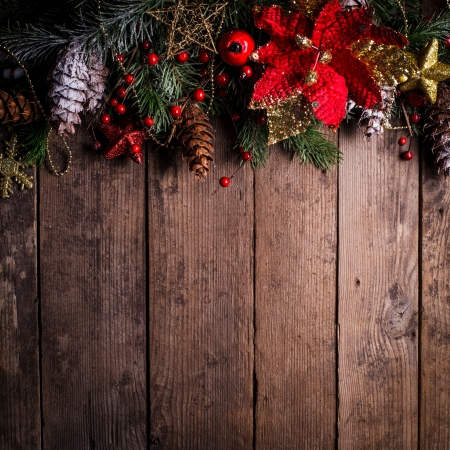 christmas decorations: Christmas border design on the wooden background Stock Photo