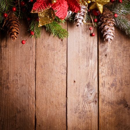 Christmas border design on the wooden background Stock Photo