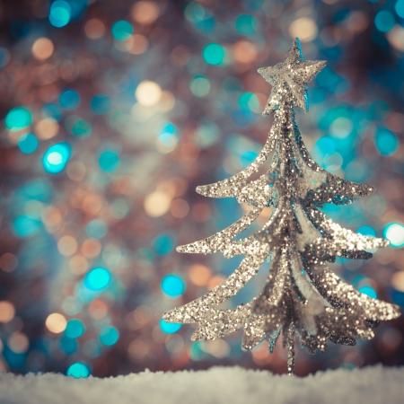 Noël rétro jouet arbre sur fond défocalisé Banque d'images - 23311748