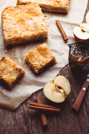 Apple cake with grated apples and cinnamon on the table photo
