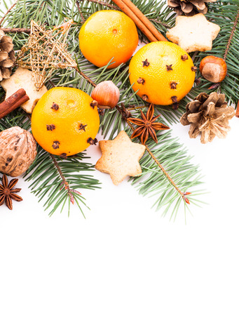 Aroma of Christmas - fir, tangerins and spices. Border design photo