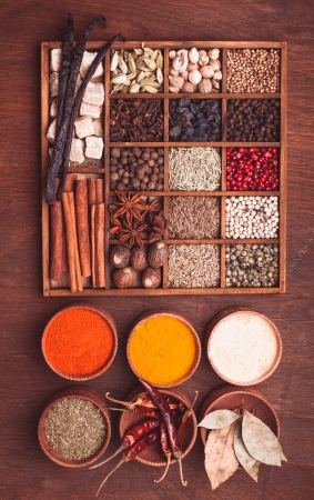 Different types of spices in wooden box photo
