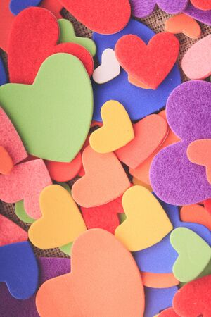 Colorful hearts stickers background. Valantine decorations. Various hearts photo