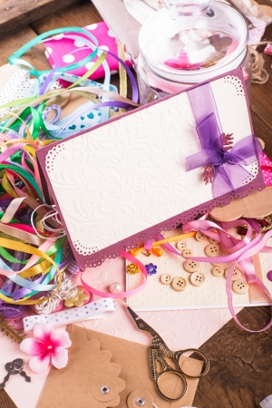 brads: Scrapbooking craft materials for decorating postcards and gifts