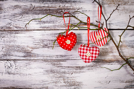 Valentine decorations: textile red hearts on the  branch photo