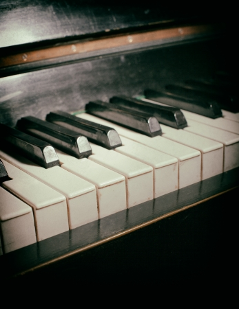 Old piano keyboard close up as a music background. With dust and scratches paper texture Stock Photo - 25394189