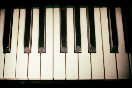 Old piano keyboard close up as a music background. With dust and scratches paper texture Stock Photo - 25413718