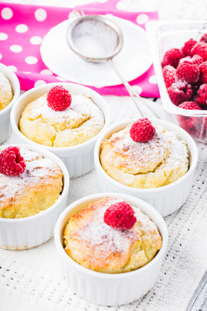 Raspberry cakes with cottage cheese and berries photo