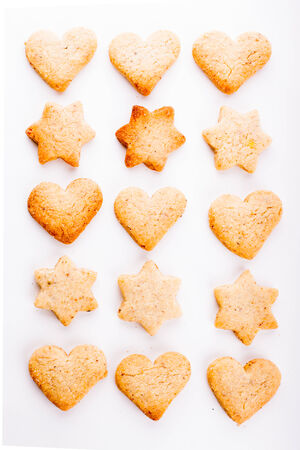 shortbread: Holiday cookies as a background pattern on white