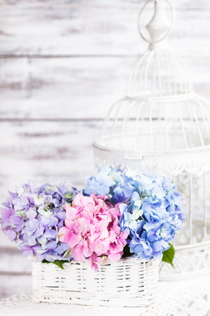 Hydrangea flowers in the white basket. Flower decor for the home