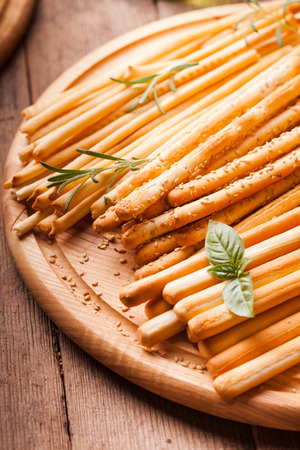 Different types of grissini - tradition Italian breadsticks