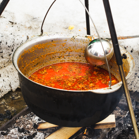 Traditional hungarian dish - bogracs goulash, stewed meat and vegetables in cauldron, outside in winter fireplace photo