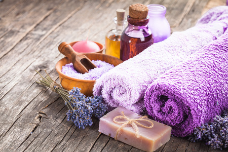 essential oil: Lavender spa - essential oil, seasalt, violet towels and handmade soap