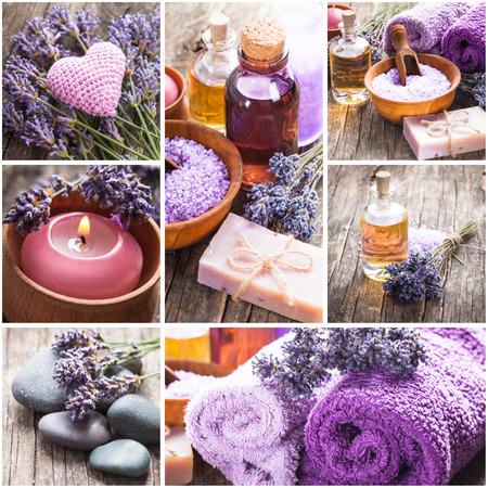 Lavender spa - essential oil, seasalt, violet towels and handmade soap photo