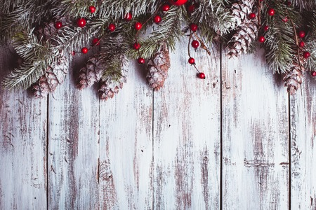 White shabby Christmas border with snow covered pinecones