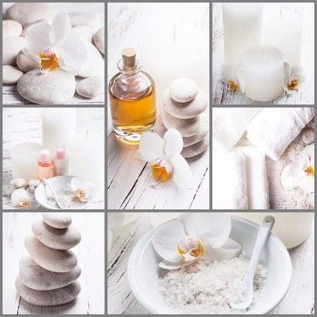 Sea salt, rebbles with orchids, essential oil and white towels, spa concept collage photo