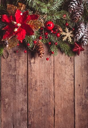 Christmas border design on the wooden background 写真素材