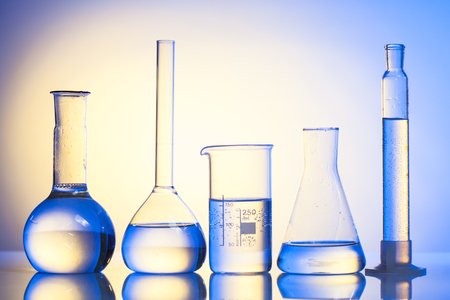 Laboratory glass for chemistry or medicine for research still life Stock Photo