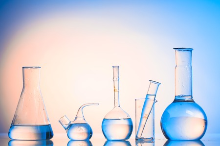 retort: Laboratory glass for chemistry or medicine for research still life Stock Photo